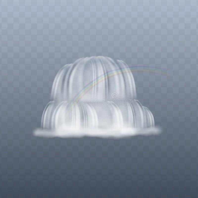 Изолированный водопад с радугой, реалистическим выплеском текущей воды белым на прозрачной предпосылке иллюстрация штока