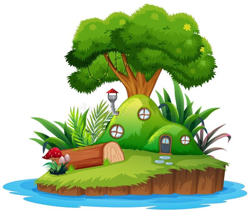 Изолированный дом острова фантазии иллюстрация штока