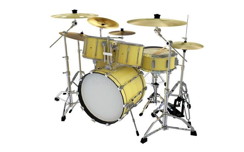 Изолированный желтый взгляд перспективы барабанчика утеса стоковые изображения rf