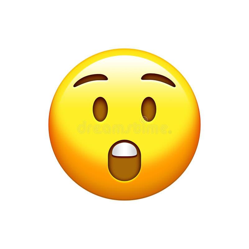 Изолированный желтый сюрприз, выкрикивая сторону с раскрытым значком рта иллюстрация вектора