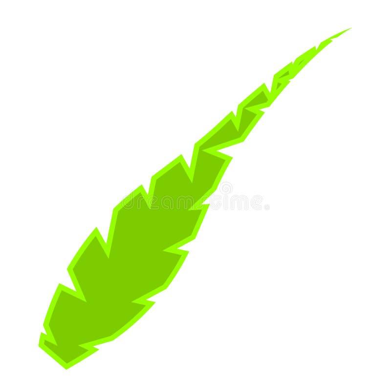 Изолированный зеленый значок пера иллюстрация вектора