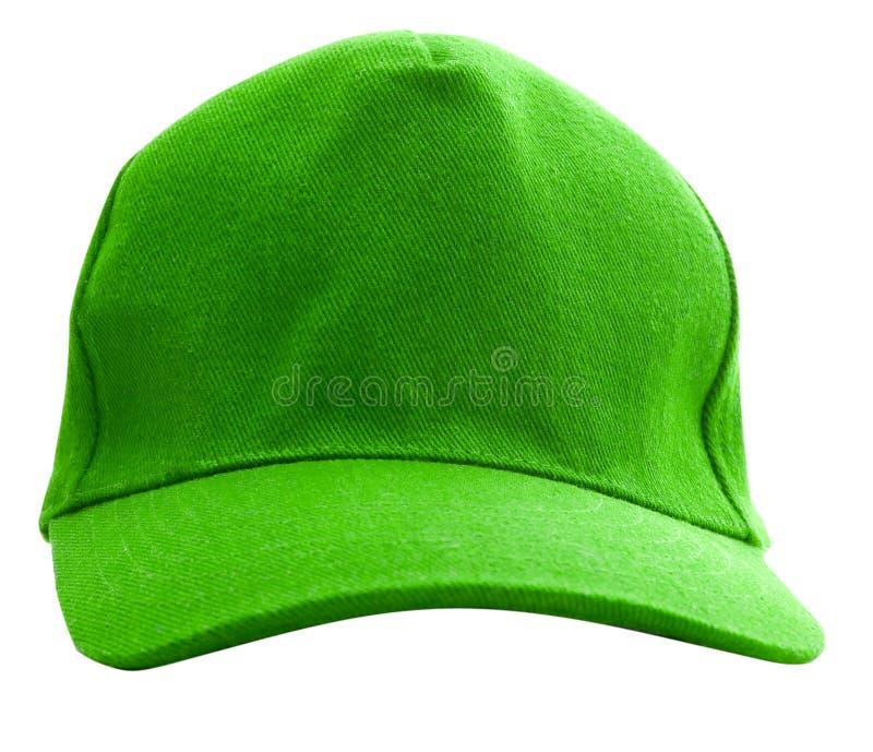 изолированный зеленый цвет бейсбольной кепки стоковое изображение