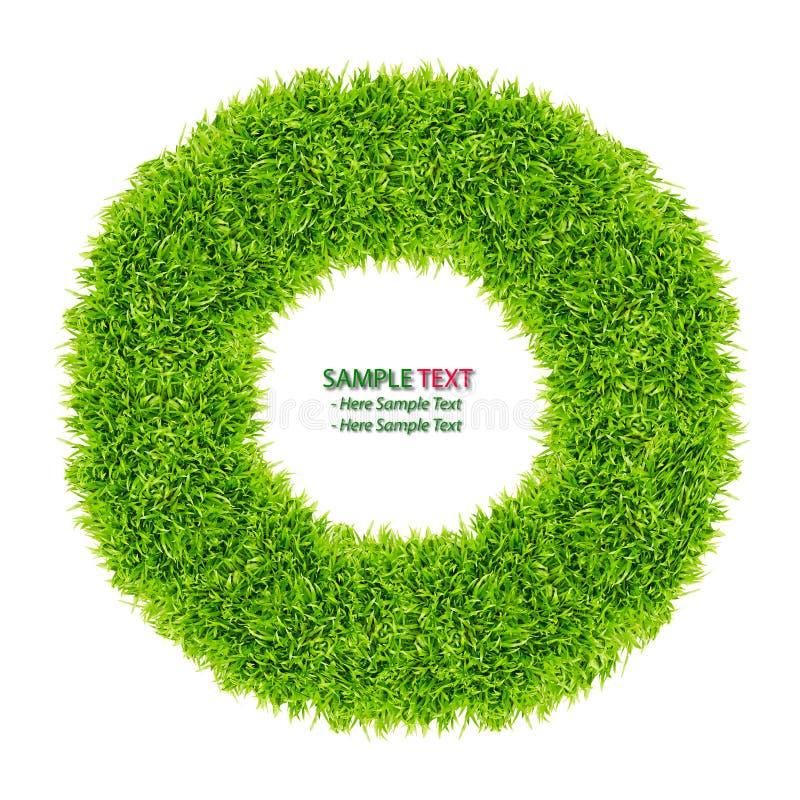 изолированный зеленый цвет травы рамки донута иллюстрация штока
