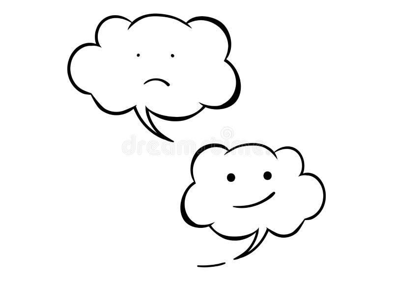 Изолированный значок вектора 2 белизн эмоциональный Унылая и жизнерадостная улыбка облаков Стиль шуточных и шаржа иллюстрация вектора