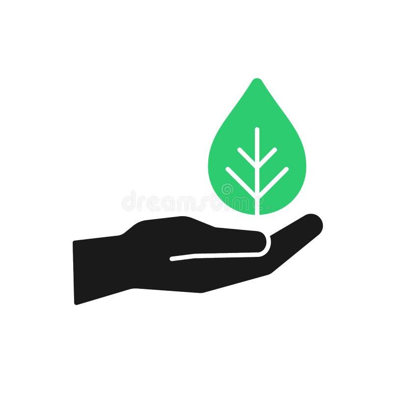 Изолированный значок зеленого растения в шайке бандитов на белой предпосылке Силуэт лист и руки Символ заботы, защиты, призрения иллюстрация вектора