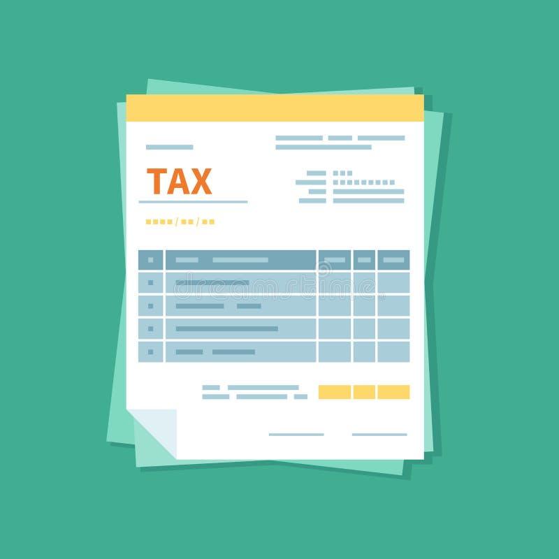 Изолированный значок обложения Упрощенная налоговая форма Незаполненная, minimalistic форма документа Оплата и выставлять счет иллюстрация вектора