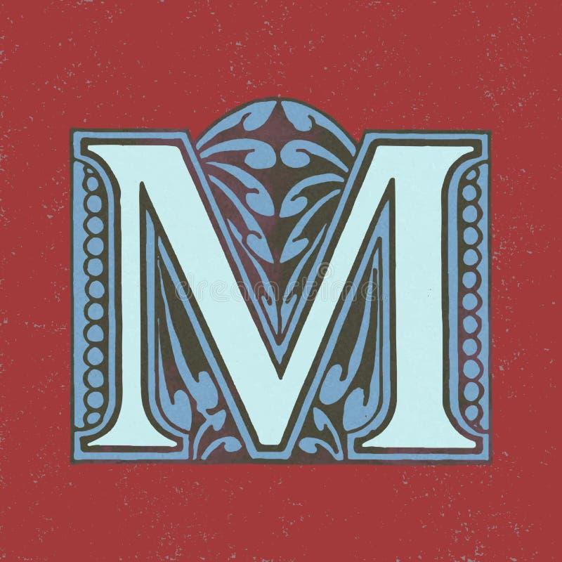 Изолированный значок письма m английского алфавита иллюстрация штока