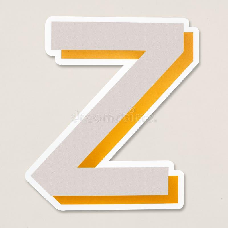 Изолированный значок письма z английского алфавита иллюстрация штока