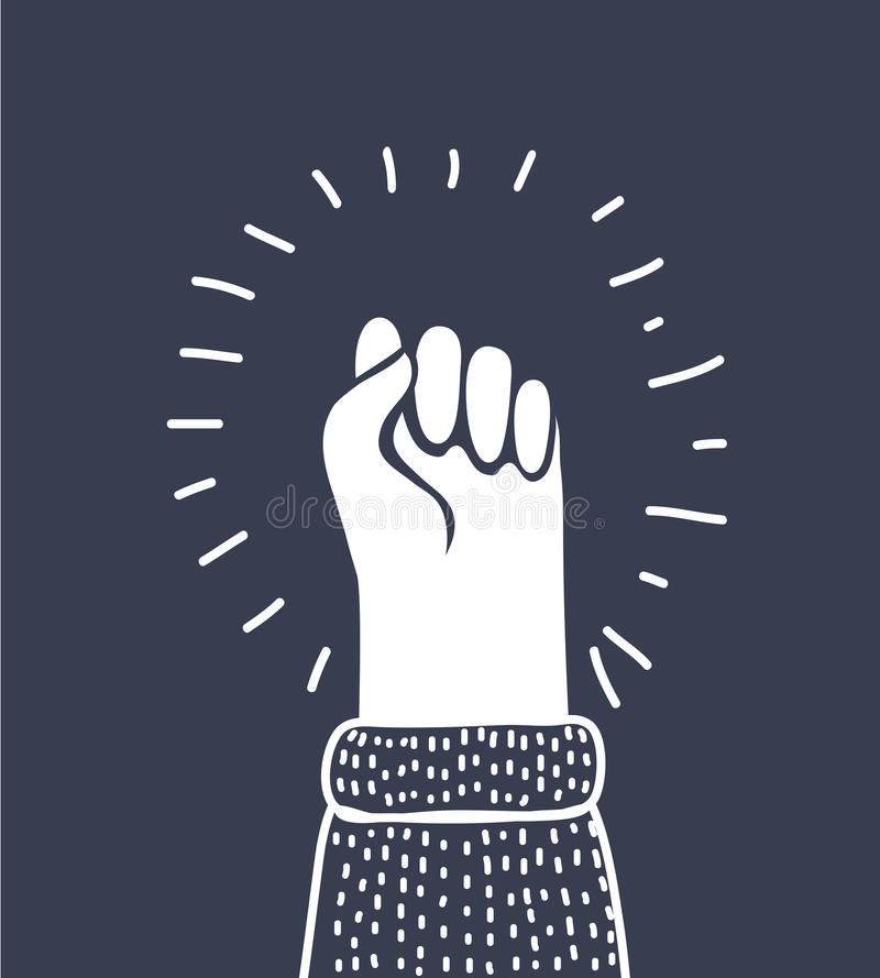 Изолированный значок, рука вектора кулака с трясти кулак поднятый вверх иллюстрация штока