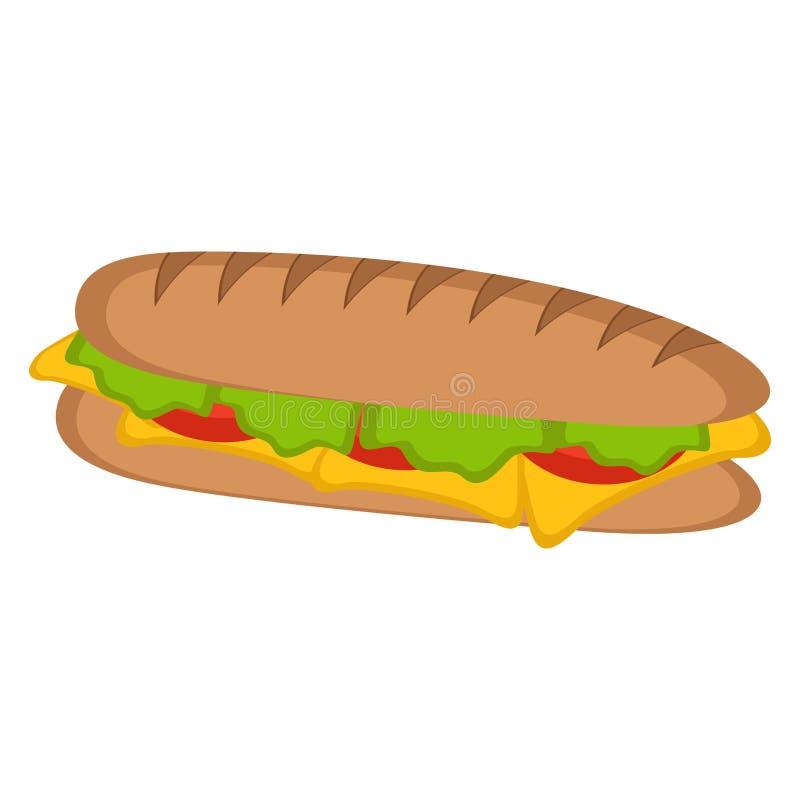 Изолированный значок сандвича иллюстрация штока