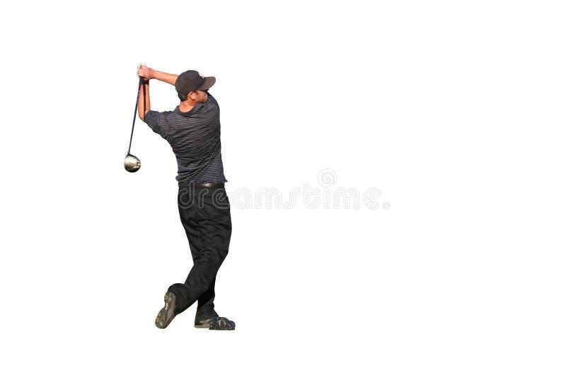 изолированный игроком в гольф тройник съемки стоковые изображения rf