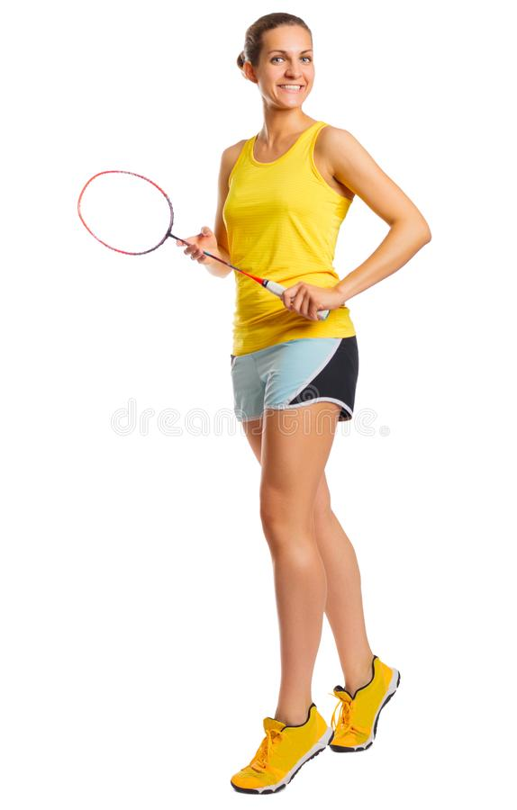 Изолированный игрок бадминтона молодой женщины стоковая фотография rf