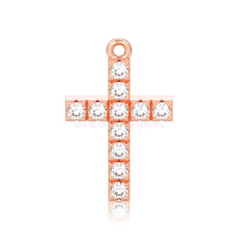 изолированный иллюстрацией шкентель креста диаманта красного золота розы 3D декоративный с отражением иллюстрация штока
