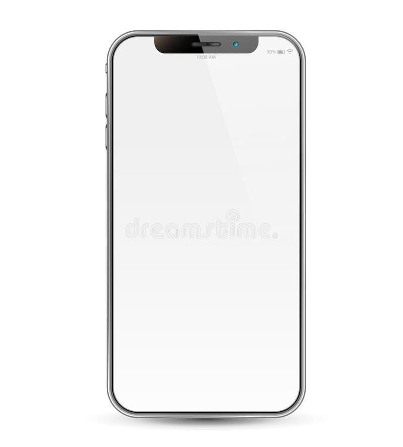 Изолированный и реалистический смартфон в белой предпосылке иллюстрация штока