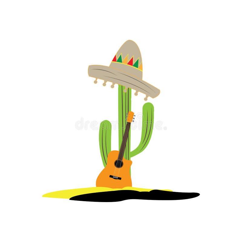 Изолированный кактус с мексиканской шляпой и гитарой иллюстрация вектора