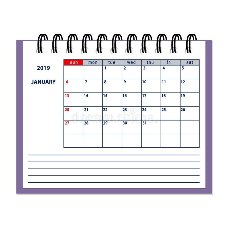 Изолированный календарь 2019 плановика страницы в январе бесплатная иллюстрация