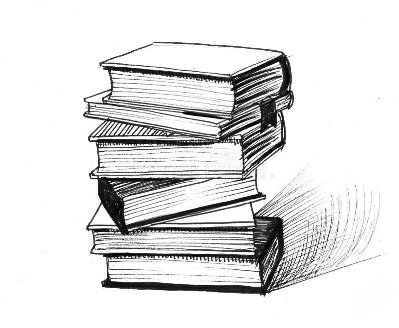 изолированный книгами стог серии иллюстрация штока