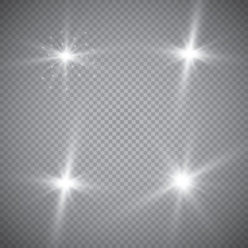Изолированный комплект золотых накаляя световых эффектов на прозрачной предпосылке Вспышка Солнця с лучами и фарой Световой эффек бесплатная иллюстрация
