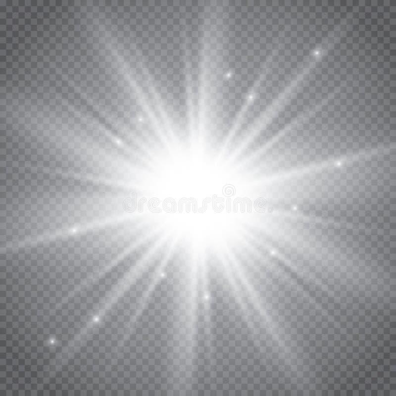 Изолированный комплект золотых накаляя световых эффектов на прозрачной предпосылке Вспышка Солнця с лучами и фарой Световой эффек иллюстрация штока
