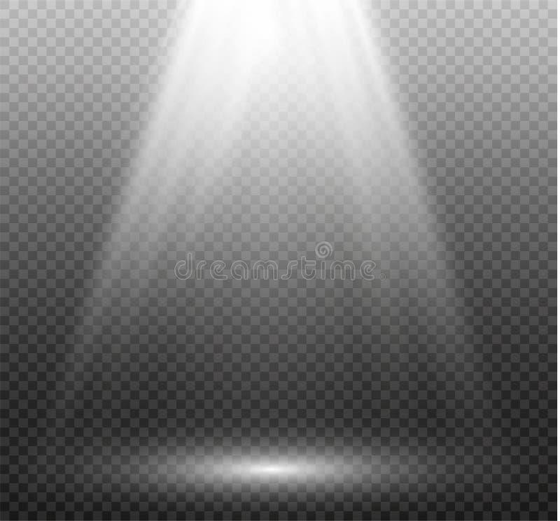 Изолированный комплект золотых накаляя световых эффектов на прозрачной предпосылке Вспышка Солнця с лучами и фарой Свет зарева стоковая фотография rf