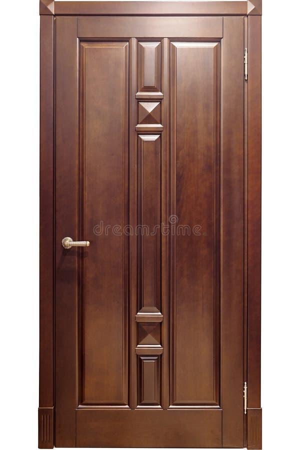 Изолированный коричневый металл с деревянными входными дверями верхних слоев с br стоковое фото rf