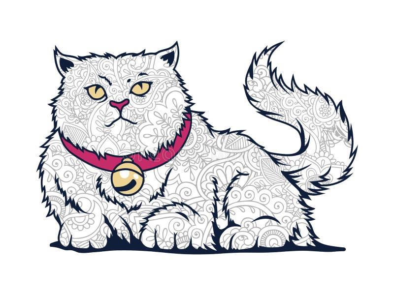 изолированный кот в белой doodle кота предпосылки нарисованном рукой для взрослой страницы расцветки отпуска стресса иллюстрация штока