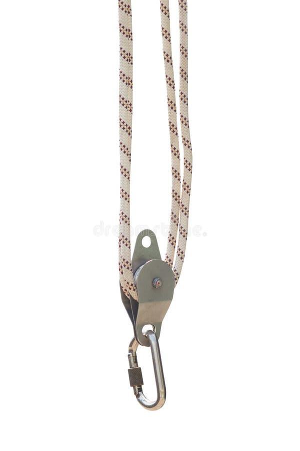 Изолированный кран подъема вьюрка веревочки безопасности поднимаясь стоковое фото rf
