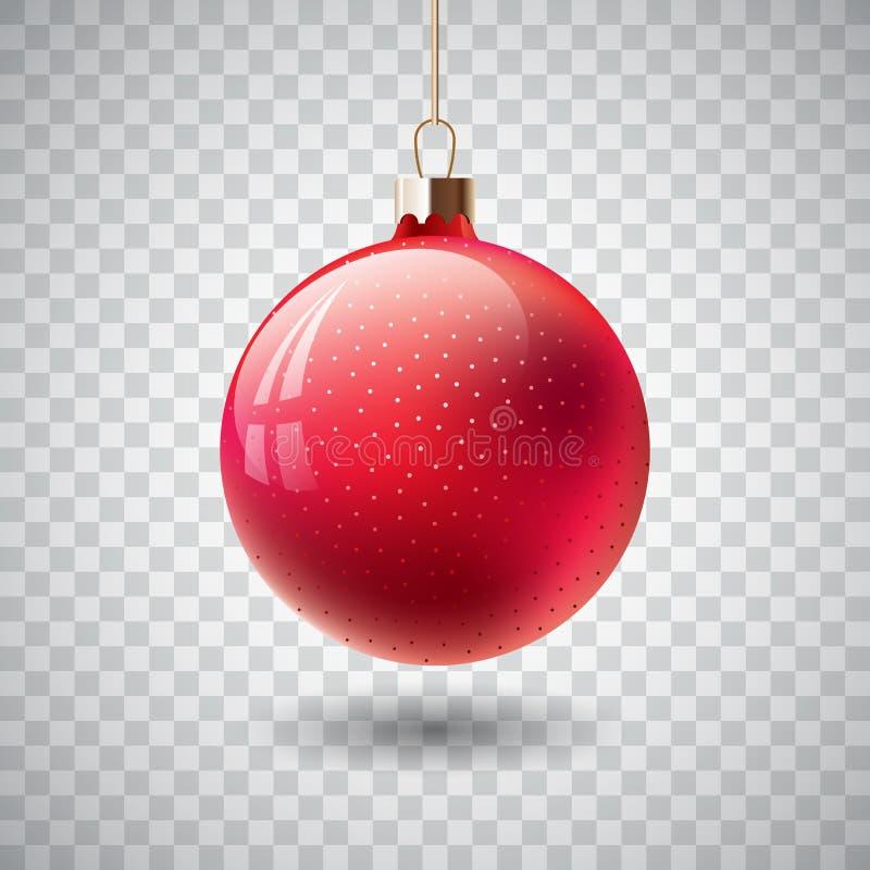 Изолированный красный шарик рождества на прозрачной предпосылке также вектор иллюстрации притяжки corel иллюстрация штока