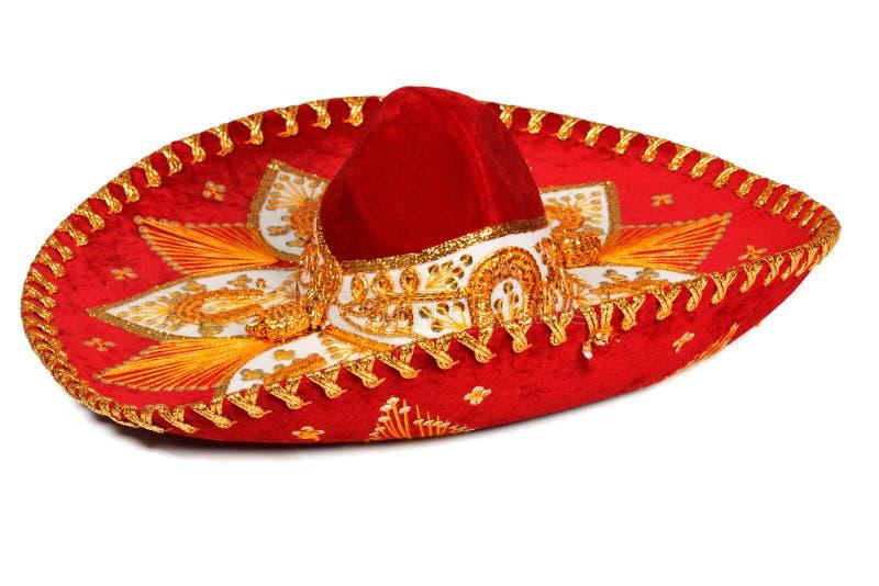 изолированный красный sombrero стоковое изображение