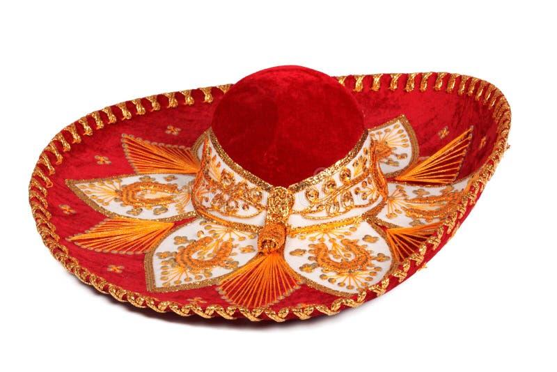изолированный красный sombrero стоковая фотография
