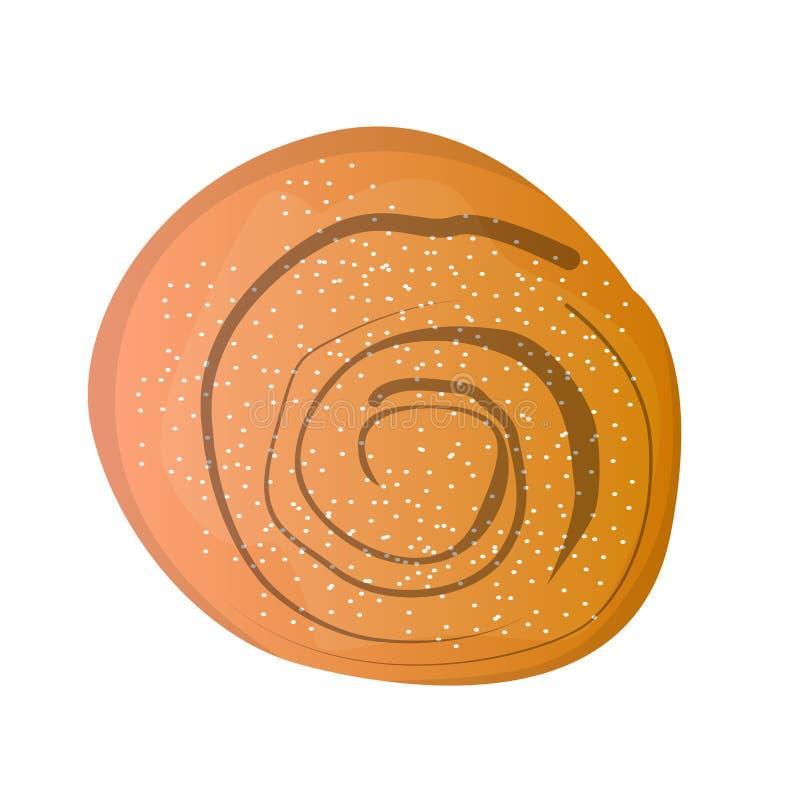 Изолированный крен циннамона иллюстрация вектора