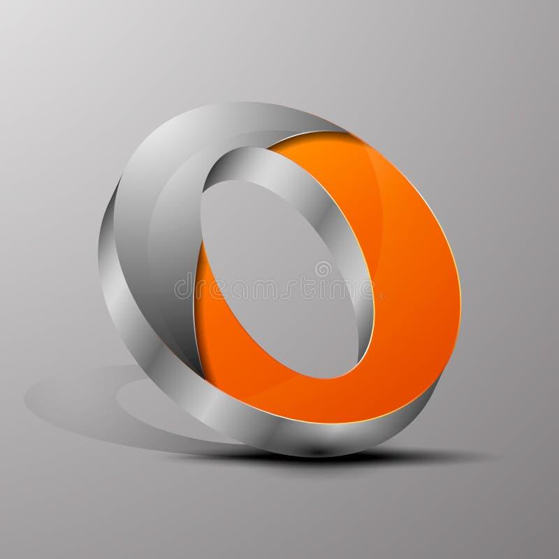 Изолированный логотип вектора 3d Оранжевое письмо o с разделом хрома иллюстрация вектора