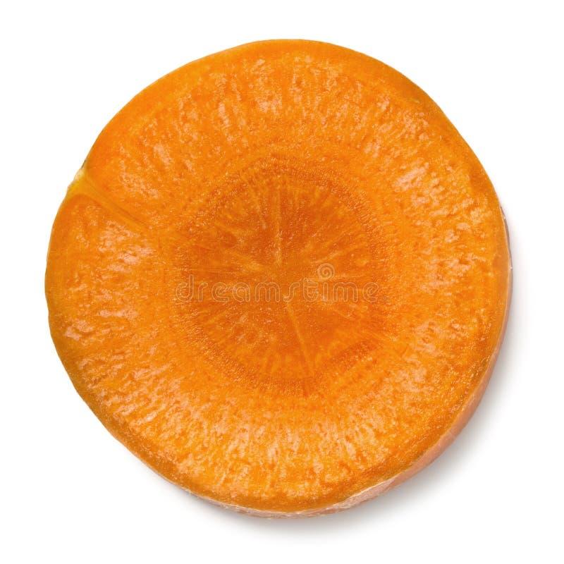 Изолированный ломтик моркови стоковая фотография