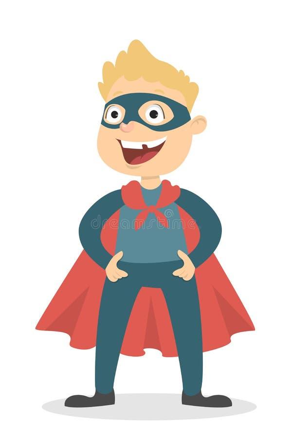 Изолированный мальчик супергероя иллюстрация штока
