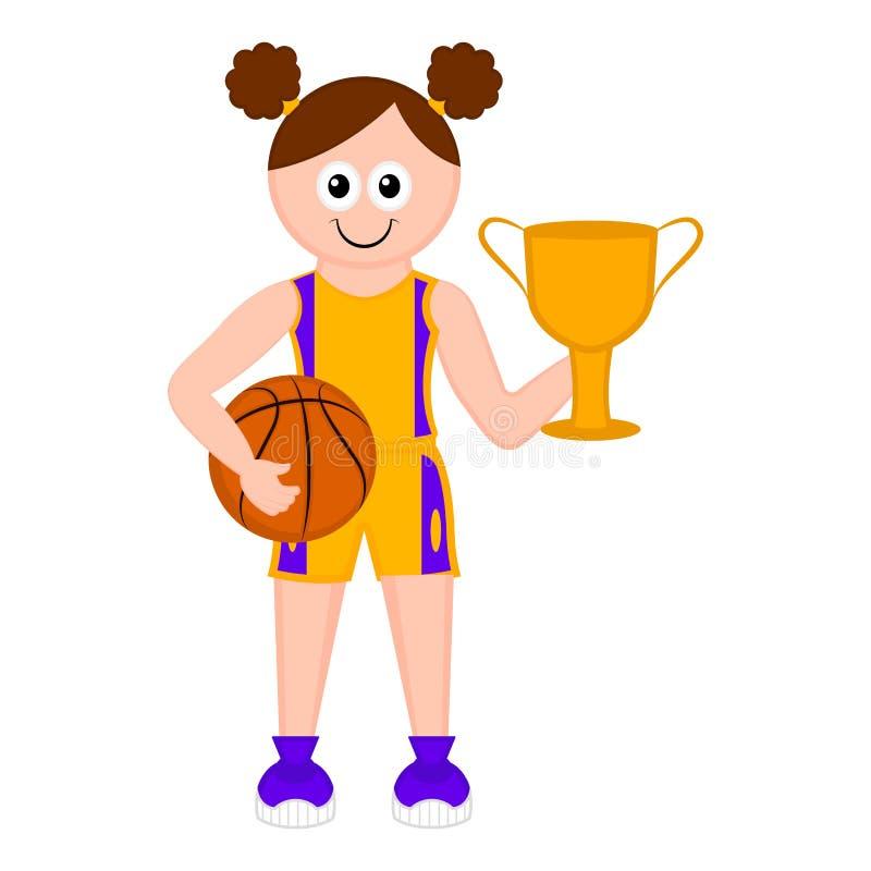 Изолированный милый баскетболист с шариком иллюстрация штока