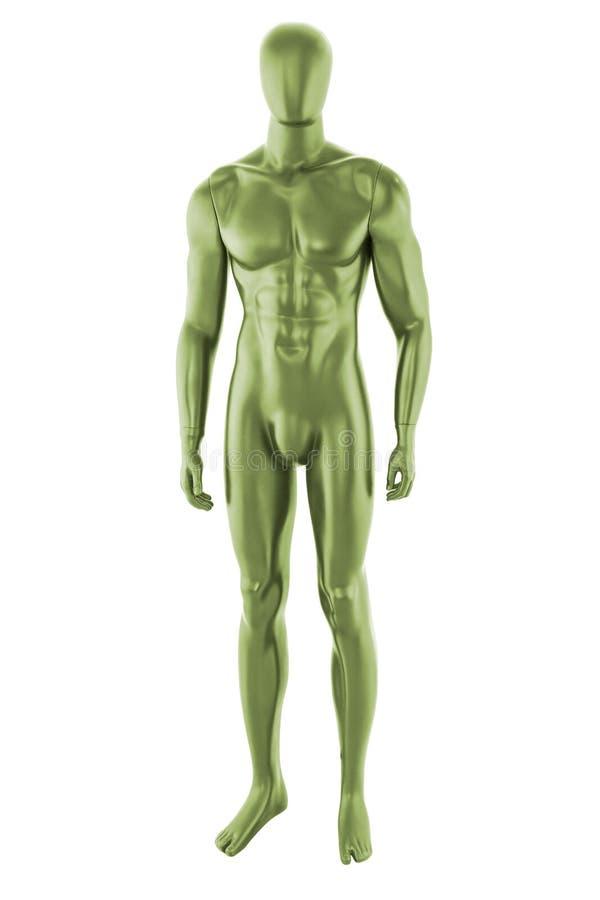 Изолированный мужчина манекена зеленого цвета лоска стоковое фото