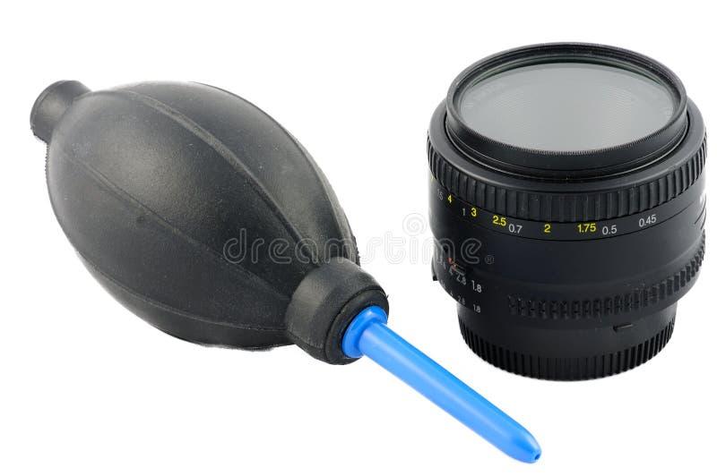 Изолированный набор объектива очищая стоковая фотография rf