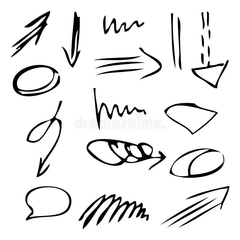 Изолированный набор стрелок руки вектора вычерченный черный Monochrome odern набор иллюстрация штока