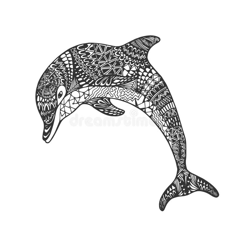 Изолированный нарисованный рукой дельфин скачки черного плана monochrome абстрактный богато украшенный на белой предпосылке Орнам иллюстрация вектора