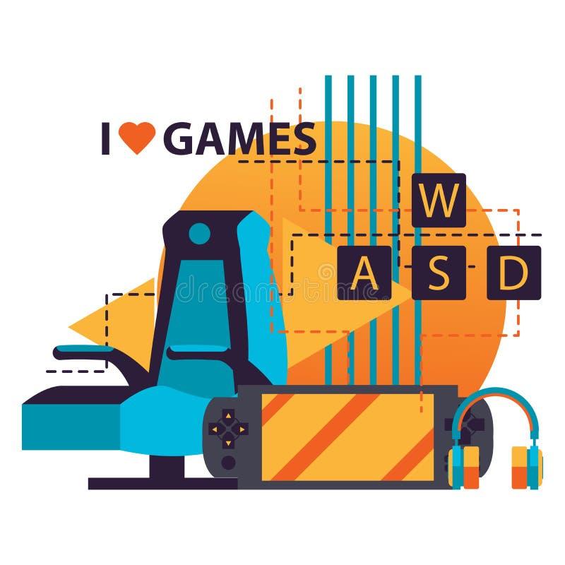 Изолированный на белой иллюстрации предпосылки с аксессуарами видеоигры как стул игрока, gamepad, клавиатура wasd и наушники, let иллюстрация штока