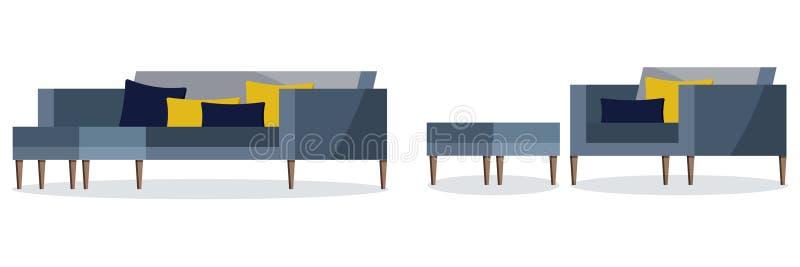 Изолированный на белом значке предпосылки софы и кресла голубого цвета мягкой с проложенной табуреткой иллюстрация штока