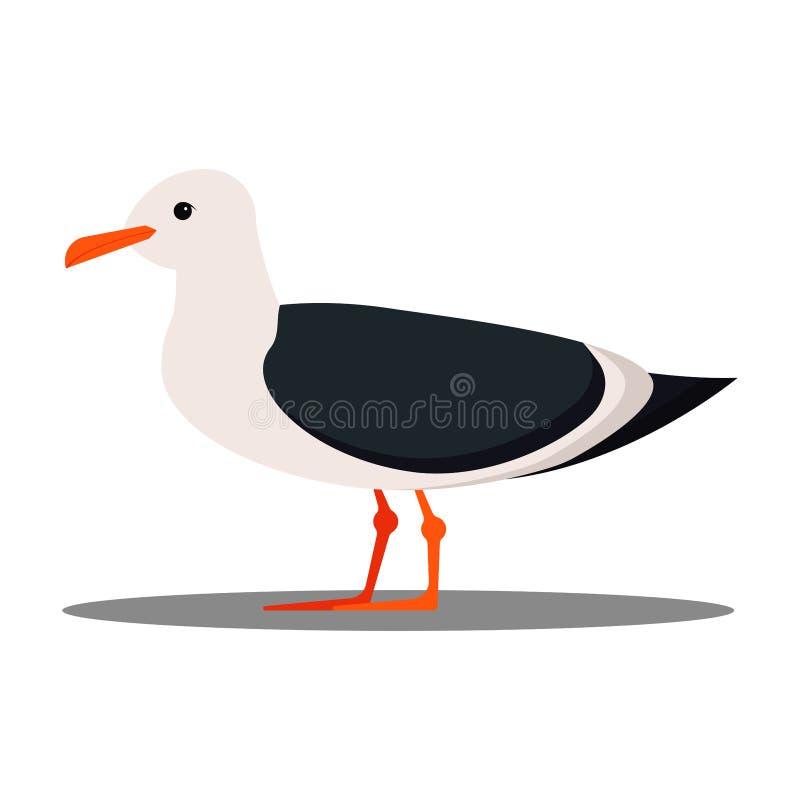Изолированный на значке дизайна белой чайки предпосылки плоском, иллюстрация стиля мультфильма бесплатная иллюстрация