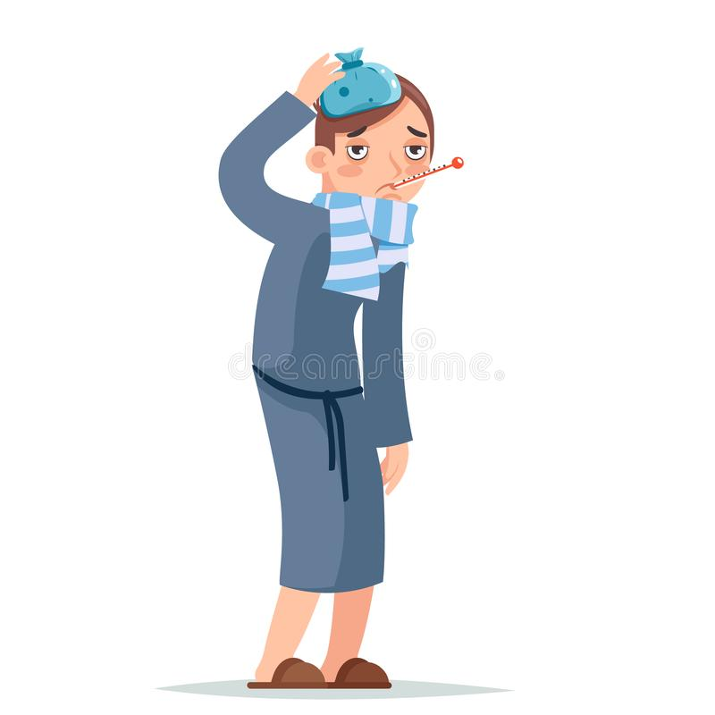 Изолированный на иллюстрации вектора дизайна персонажа из мультфильма человека белого больного холодного вируса болезни заболеван бесплатная иллюстрация