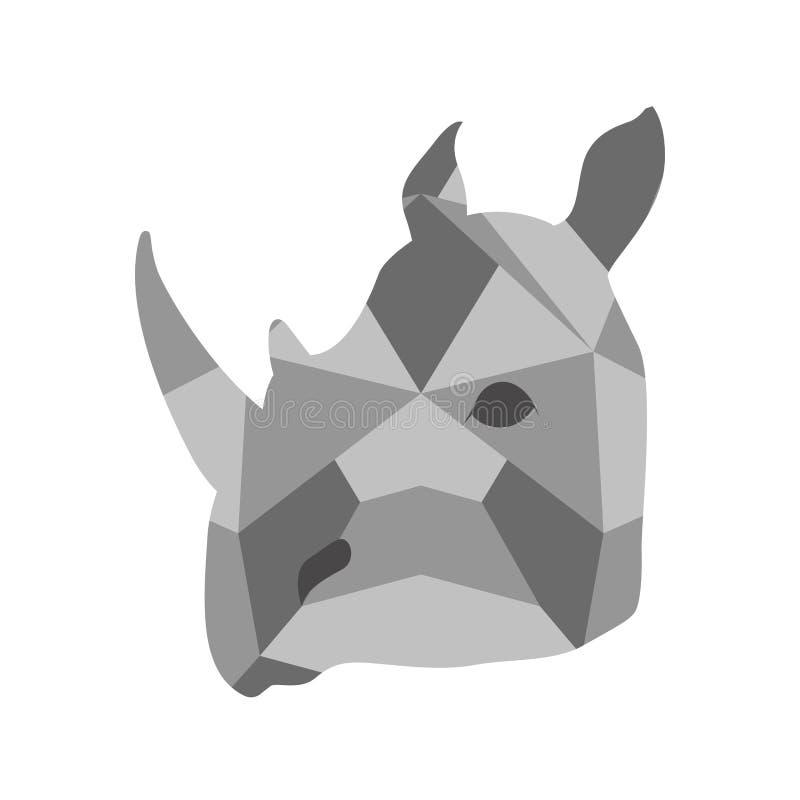 Изолированный низкий поли значок носорога иллюстрация вектора