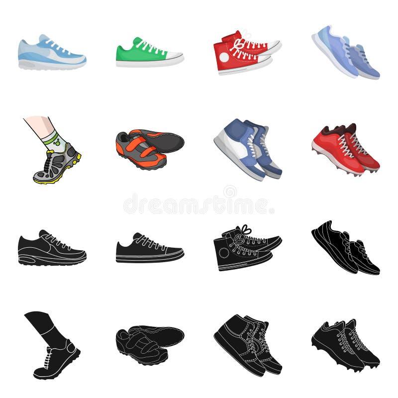 Изолированный объект ботинка и знака спорта Собрание ботинка и сокращенного названия выпуска акций фитнеса для сети иллюстрация штока