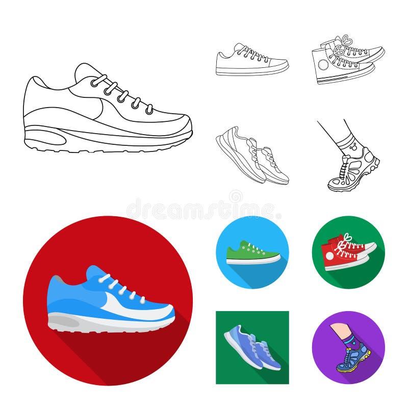 Изолированный объект ботинка и знака спорта Установите ботинка и иллюстрации вектора запаса фитнеса иллюстрация штока