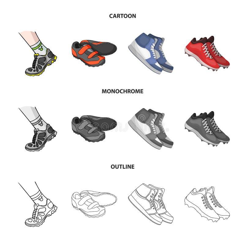 Изолированный объект ботинка и значка спорта Собрание ботинка и иллюстрации вектора запаса фитнеса иллюстрация вектора