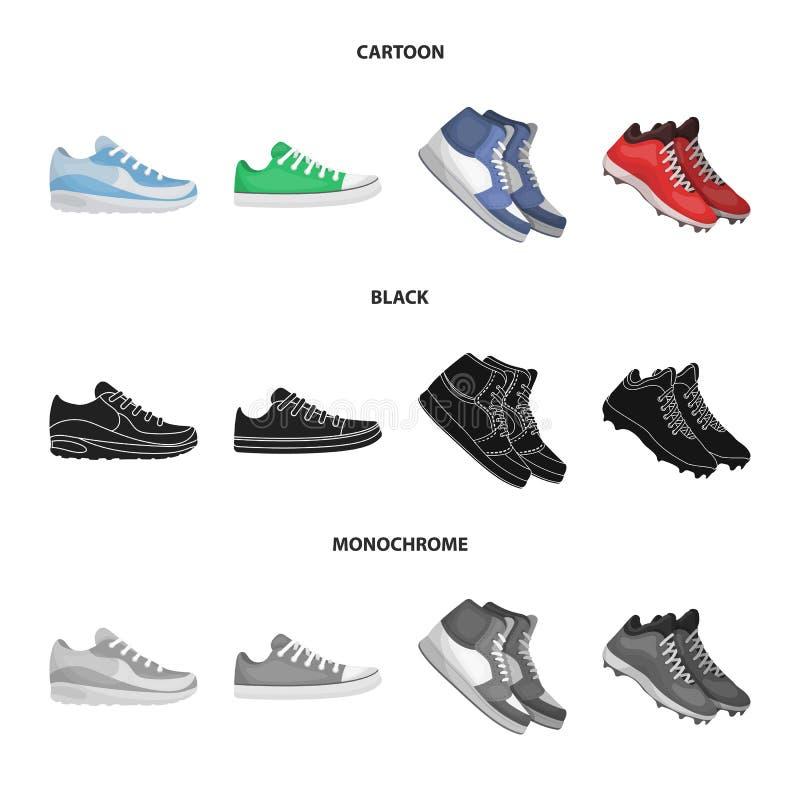 Изолированный объект ботинка и значка спорта Установите ботинка и иллюстрации вектора запаса фитнеса бесплатная иллюстрация