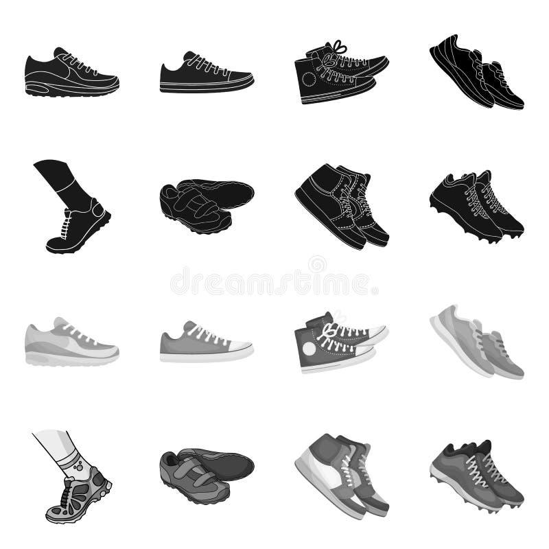 Изолированный объект ботинка и логотипа спорта Установите ботинка и значка вектора фитнеса для запаса иллюстрация вектора