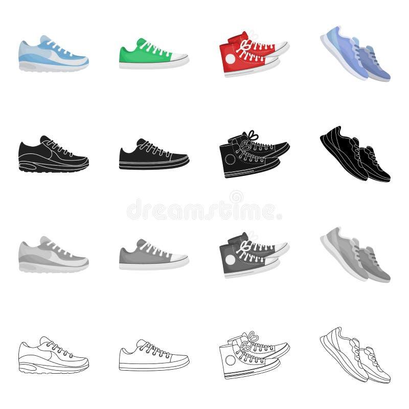 Изолированный объект ботинка и символа спорта Собрание ботинка и значок вектора фитнеса для запаса иллюстрация вектора